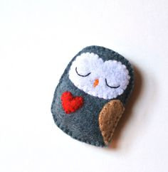 Owl Felt Brooch Blue Grey Owl Red Heart Woodland Unisex handmade fashion Accessory by mikaart $12.99
