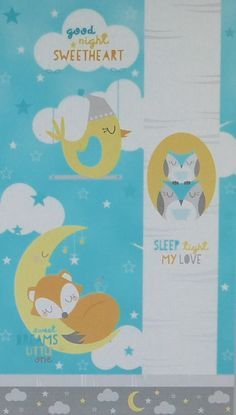 """Sweet Dreams Little One Panel 24"""" x 44""""~Children's Cotton Fabric by~Wilmington Prints~Fast Shipping CH279"""