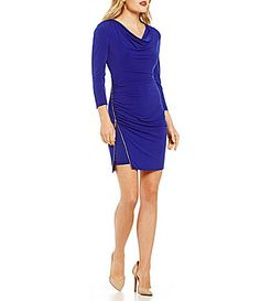 Jessica Simpson Cowl Neck Front Zipper Dress #Dillards