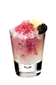 GIN - 'BRAMBLE' - 2oz gin, 1oz lemon juice, 1/2oz sugar syrup, 1/2oz creme de cassis.