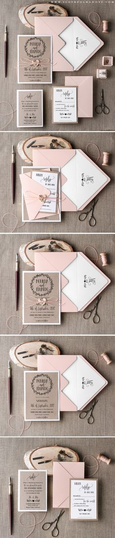 Rustic Wedding Handmade Wedding Invitation with wreath monogram Handmade Wedding Invitations, Diy Invitations, Wedding Stationary, Wedding Invitation Cards, Invitation Design, Wedding Cards, Diy Wedding, Rustic Wedding, Dream Wedding