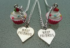 Best friend cupcake necklace cupcake by BlueBubbleCrystals on Etsy