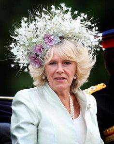 Camilla, Duchess of Cornwall, 2008.  Always seems to have a bush or a bird sitting on her head.  (Sometimes there's even a bird IN the bush hahaha)