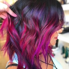 popular medium haircut and hairstyles ideas 16 Vivid Hair Color, Beautiful Hair Color, Hair Dye Colors, Cool Hair Color, Magenta Hair Colors, Hair Color Balayage, Hair Highlights, Ombre Hair, Pink Hair