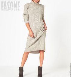 """Купить Платье серое """"Fasone"""". Платье вязаное. Платье женское в пол - платье на…"""