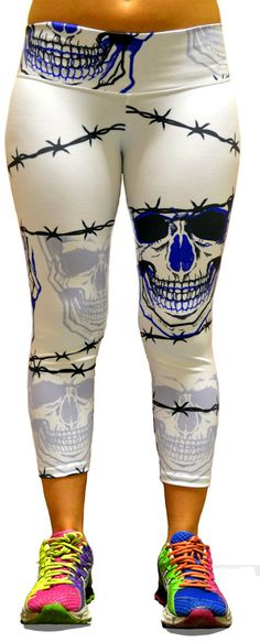 Men's Barbwire Skull Capri Leggings at SanDiegoFit.com