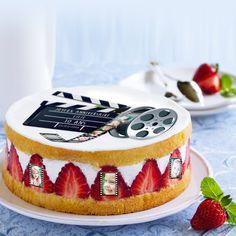Pour les fans de cinema avec vos photos et textes, sur feuille azyme ou feuille de sucre, entièrement comestible Birthday Cake, Desserts, Fans, Photos, Sugar Sheets, Texts, Tailgate Desserts, Birthday Cakes, Deserts