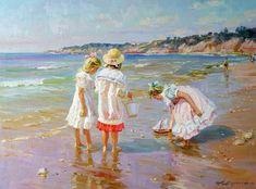 Alexander Averin - Russian artist - Girls By The Sea Realistic Paintings, Beach Scenes, Beach Pictures, Strand, Art Girl, Vintage Art, Gustav Klimt, Art Gallery, Fine Art