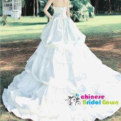 Style 20108, Splendid Satin Ball Gown Strapless Chinese Wedding Dress by CBG.