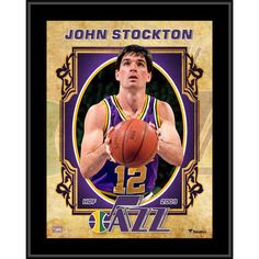 """Each collectible comes with an 8"""" x 10"""" player image sublimated onto a black plaque. It is officially licensed by the National Basketball Association. It measures 10.5"""" x 13"""" x 1"""" and is ready to hang in any home or office. John Stockton, Utah Jazz, Jeff Green, Kevin Johnson, Karl Malone, Logo Basketball, Donovan Mitchell, John The Evangelist, Nba Season"""