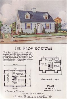Tiny Cape Cod - Center Hall - Mid Century Cottage Style - Nationwide House Plan Service - The Provincetown
