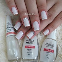 35 Combinações de esmaltes que você irá adorar Red And White Nails, Red Nails, Mani Pedi, Pedicure, Country Wedding Cakes, Wedding Nails, Mary Kay, Coco, Nail Colors