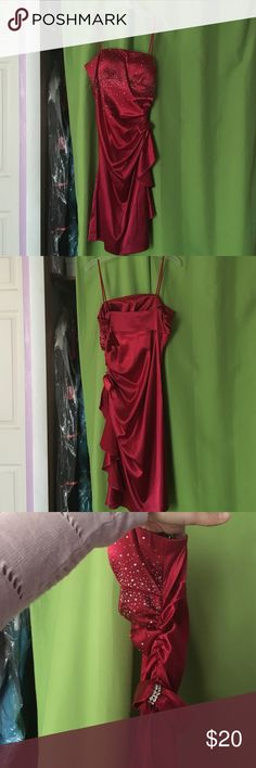 Red Special Occasion Dress Satin special occasion dress with silver embellishments. Gathered on side with side zipper. Padded in boob area. Blondie Nites Dresses Prom