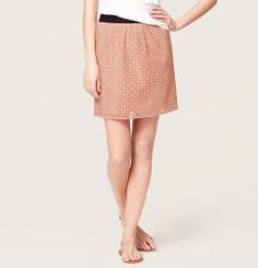Petite Floral Cotton Eyelet Skirt | Loft- can pair a neutral on top, or your black skinny strap tank