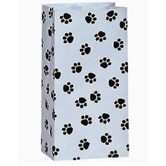 12 Paper Party Favor Treat Bags - White with Black Paw Print