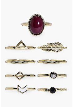 Scarlett Stone & Geometric Mixed 9 Ring Pack