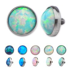 Synthetic Opal Tops with M1.2 threading. All opals are bezel set and can be autoclaved. Tops are available in 3mm, 4mm and 5mm. Manufactured out of Implant Grade Titanium (Ti-6AL-4V-ELI ASTM F136) #BodyVibe