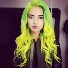 Green and Yellow Electric Hair