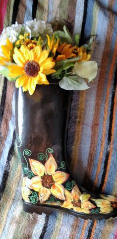 Rain Boot Planter Hand Painted Yellow by AndreaLapinsArt on Etsy