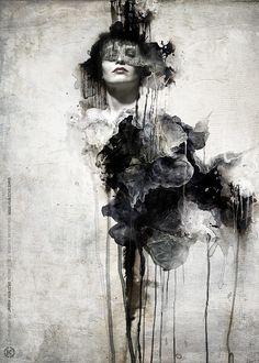 kubicki painting digital art photoshop woman dramatic drip splash portrait mixed media