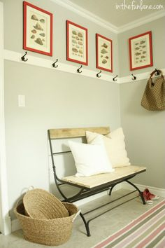 """Laundry Room revamp - fr. inthefunlane.com - used Martha Stewart's """"coral pink"""" paint on frames"""