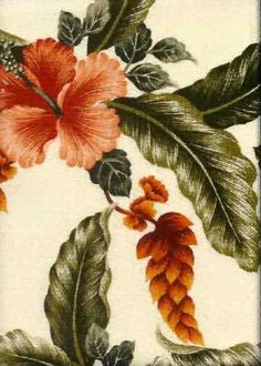 Lalapa Natural Tropical Hawaiian Heliconia & Hibiscus flowers on cotton bark crepe textured bark cloth upholstery fabric.Add Discount code: (Pin10) in comment box at check out for 10% off sub total at BarkclothHawaii.com