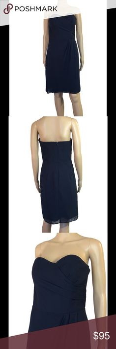 """Bill Levkoff strapless sweetheart dress Excellent condition. No signs of wear, has been dry cleaned. No rips, stains, pulls, etc. fully lined - not see through in any sense. Size 8. Beautiful ruching on left side of bust. Some pin tucking on the seam of the waist creating a gorgeous slender waist look. Rubber trim on the sweetheart neckline so it will not slip down. Hidden zipper in the back.   Smoke free environment.  -  Mannequin measurements:  height - 5'8  Bust - 32""""  waist - 24.5  hips…"""