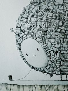 An Amazing Drawing Of A Girl & Her Gigantic Imaginary Friend - DesignTAXI.com