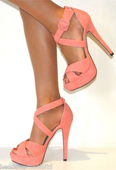 CORAL STRAPPY STILETTO HEELS PLATFORM SHOE
