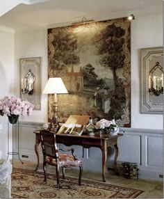 Notice the painting above the desk - a drawing made before a tapestry - and the sconces flanking it... Soooo beautiful!!