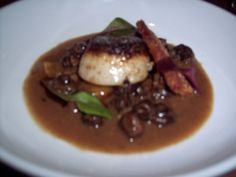 Skillet seared scallops, pork belly, braised chestnut, mushrooms, citrus from Seven Lamps, Atlanta, via www.LuxeCrush.com