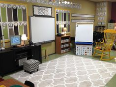 Here is her class meeting area and word wall.  Is that fabric hanging below each letter heading?  I think it is.