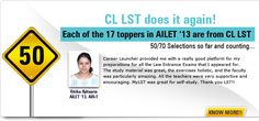 Prepare for Common Law Admission Test (CLAT) 2013 exam with LST (Law School Tutorials) where experienced faculties guides student to clear the Law exams. Most of the students studies in the law colleges after completing law coaching.