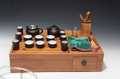 a complete set of portable zisha clay tea wares ; Chinese GongFu TeaPot, YiXing Pottery Handmade zisha clay teapot,