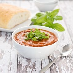 "Fresh Tomato Soup With Basil {Sweet Pea's Kitchen}- ""This recipe is incredible! It's made without cream, so you can really taste the garden fresh tomatoes."" #dairyfree"