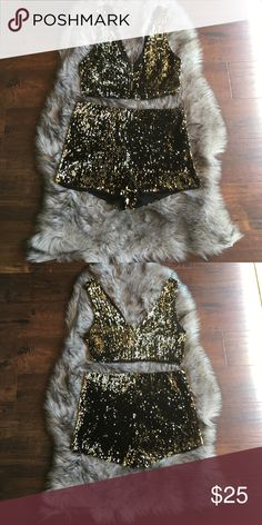 Gold Sequin Set❥ Gold sequin two-piece set. Crop top w peekaboo front and  low cut. I m a bartender and I bought this outfit for work the night of NYE. 6224ca2dc