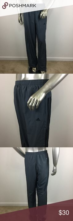 Adidas Clima 365 Gray Black Stripes Track Pants XL CONDITION: Gently used,no flaws. MATERIAL:  MEASUREMENTS: (Please note that the measurements are approximate) ALL MEASUREMENTS ARE TAKEN WITH GARMENT LYING FLAT: WAIST: RISE: INSEAM: LENGHT: adidas Pants Sweatpants & Joggers
