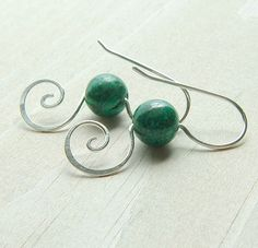 Green Malachite Earrings Dangle Earring Sterling Silver Coils Eco Friendly Spring Fashion Jewelry