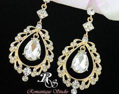 Gold art deco earrings, Vintage style wedding earrings, chandelier bridal earrings with crystal teardrop, statement jewelry earrings 1215G