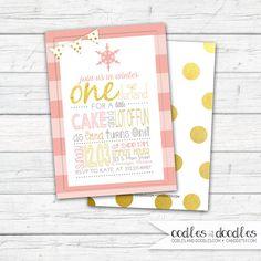 Winter ONEderland Invitation Winter ONEderland Birthday by OandD