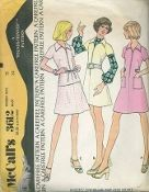 An original ca. 1973 McCall's pattern 3612.  Misses' Dress or Top and Skirt:  Collared, front zippered dress or top has raglan sleeves with shoulder darts. Dress A has patch pockets and button trimmed belt. Skirt C has left side zipper.