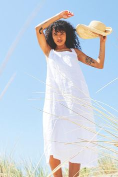 Paola – CP Shades The White Album, Smock Dress, Linen Dresses, Smocking, Cover Up, White Dress, Neckline, Shades, Silhouette