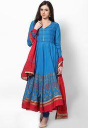 Biba Aqua Blue Cotton Solid Suit Set Women