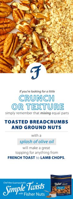 A Simple Tip with Fisher Nuts from Jones Guarnaschelli Iron Chef, Alex Jones, Mixed Nuts, Lamb Chops, Yummy Snacks, Food Hacks, Food Network Recipes, Spice Things Up, Cooking Tips