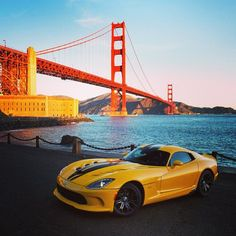 Dodge Viper SRT with the dramatic Golden Gate Bridge Backdrop