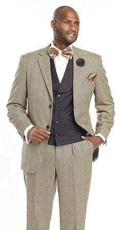 Best Mens Suit Vested Checked Fashion Men Suits M2691 EJ Samuel (44 R, Black)