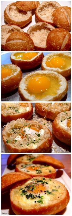Baked Eggs in Bread Bowls, Great Sunday Morning Recipe!