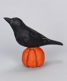 Loving this Crow on Pumpkin Figurine on #zulily! #zulilyfinds