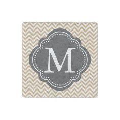 Gold White Chevron Stripes Monogram Stone Magnet