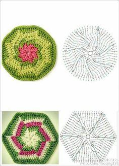New crochet afghan flower hexagon pattern ideas Crochet Squares Afghan, Crochet Motifs, Hexagon Pattern, Form Crochet, Granny Square Crochet Pattern, Crochet Blocks, Crochet Mandala, Crochet Diagram, Crochet Art